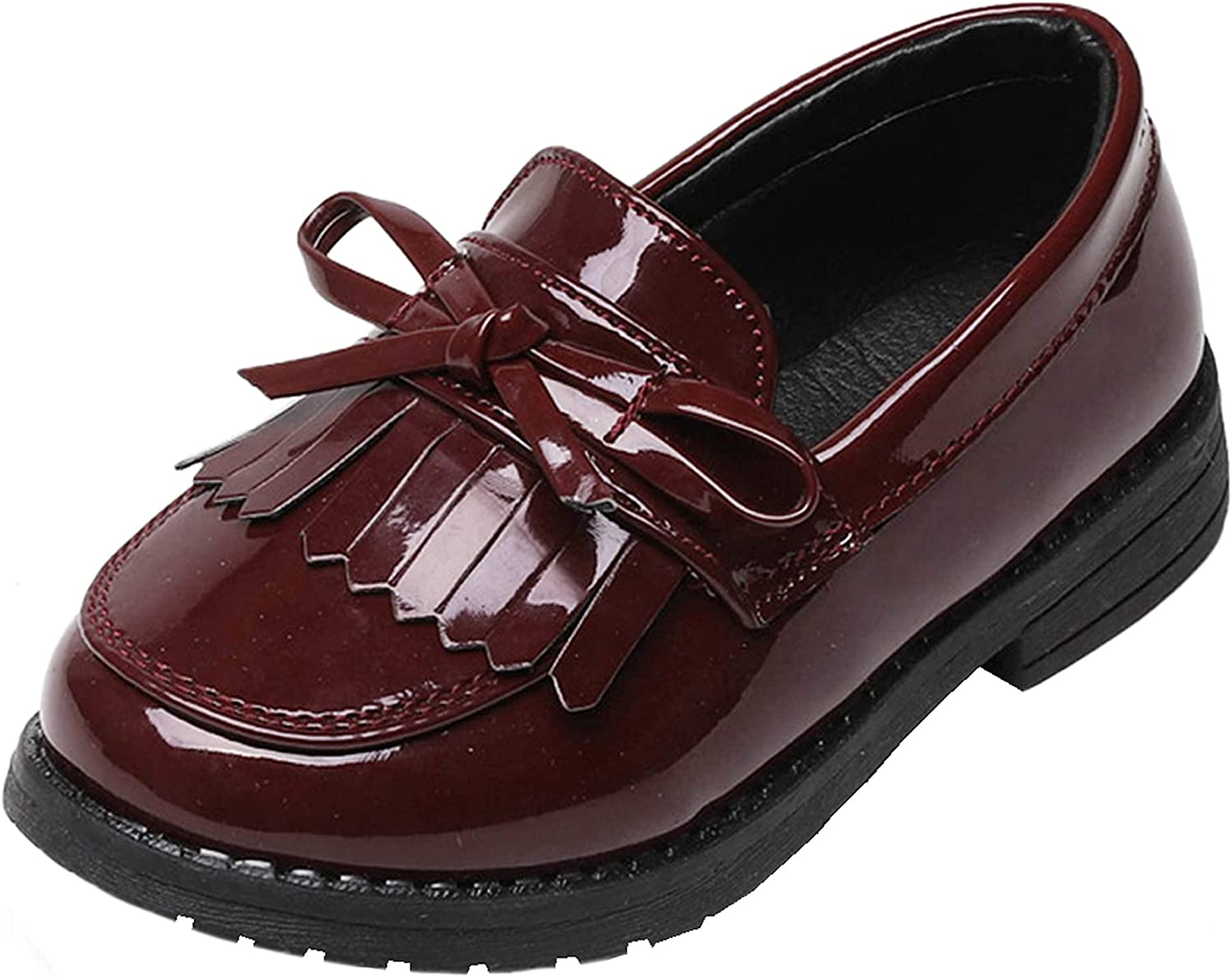 WUIWUIYU Girls Detroit Super special price Mall Patent Leather Slip-On Loafers Bow Penny Ta Flats