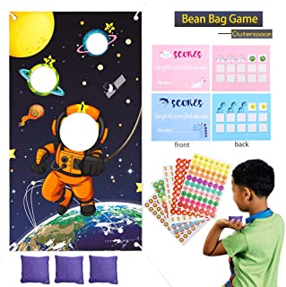 Space Toss Game Astronaut Party Supplies Set - Toss Games Banner,Bean Bags,Reward Stickers,Game Scorecards Outerspace Birthday Party Favor Solar System Party Activities for Adults Kids