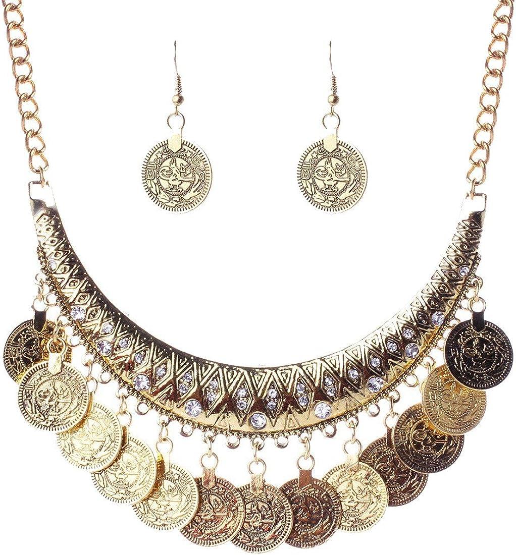 Boho Festival Tribal Ethnic Multi-Layer Choker Necklace Drop Pendant Jewellery z