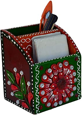 eCraftIndia Papier-Mache Pen Stand (9 cm x 8 cm x 11 cm, Green and Pink)