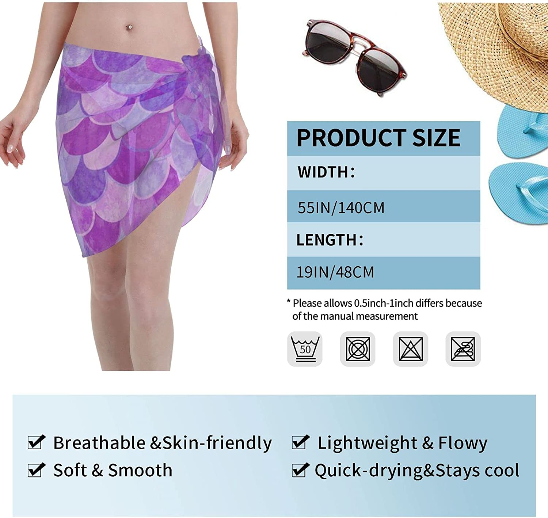 Reindeer Horn Women Short Purple Mermaid Scale Sarongs Cover Ups Beach Chiffon Sarong Bikini Swimwear