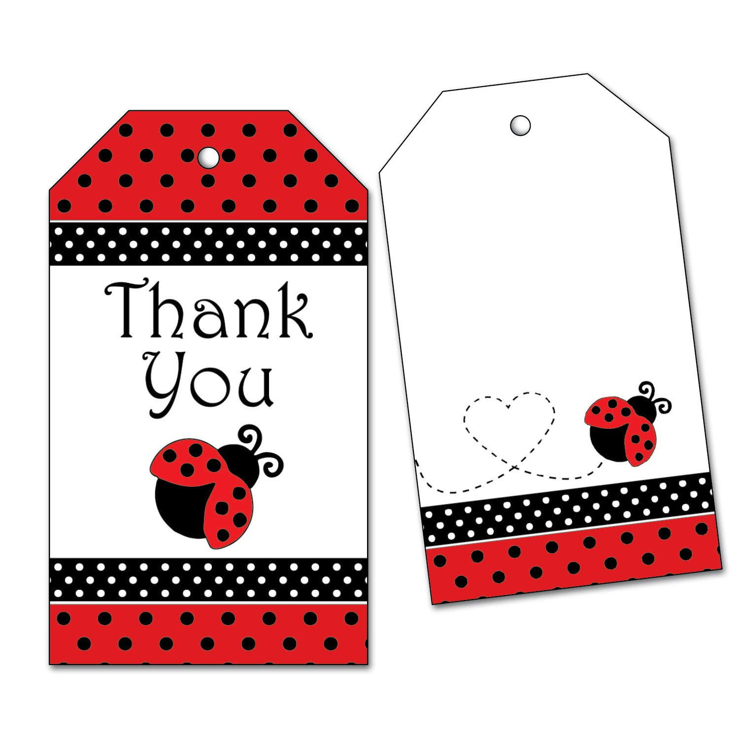 25 Ladybug Thank You Tags - Favo Birthday Baby Party for Shower 1 year warranty Ranking TOP20