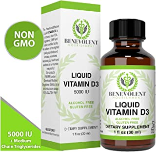Vitamin D3 Drops 5000 IU - Potent & Effective 1000 IU per Drop - Fast Absorbing Liquid Dietary Supplement - 100% Alcohol & Gluten Free