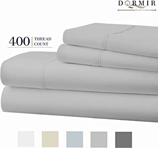Dormir 400 Thread Count 100% Cotton Sheet Lt Grey Cal-King Sheets Set, 4-Piece Long-Staple Combed Cotton Best Sheets for Bed, Breathable, Soft & Silky Sateen Weave Fits Mattress Upto 18'' Deep Pocket
