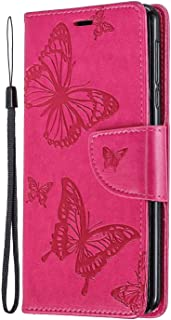 RuiJinHao iPhone 11 Flip Case Leather Cover cell phone Cover Extra-Shockproof Business Card Holders Kickstand Embossing 2 card slot Money solt (pink)