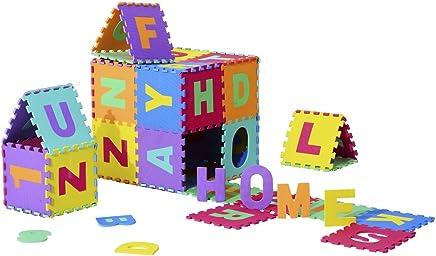 homcom Tappeto da Gioco 36 Pezzi Puzzle in Eva con Numeri e Lettere dell'Alfabeto per Bambini Colorato