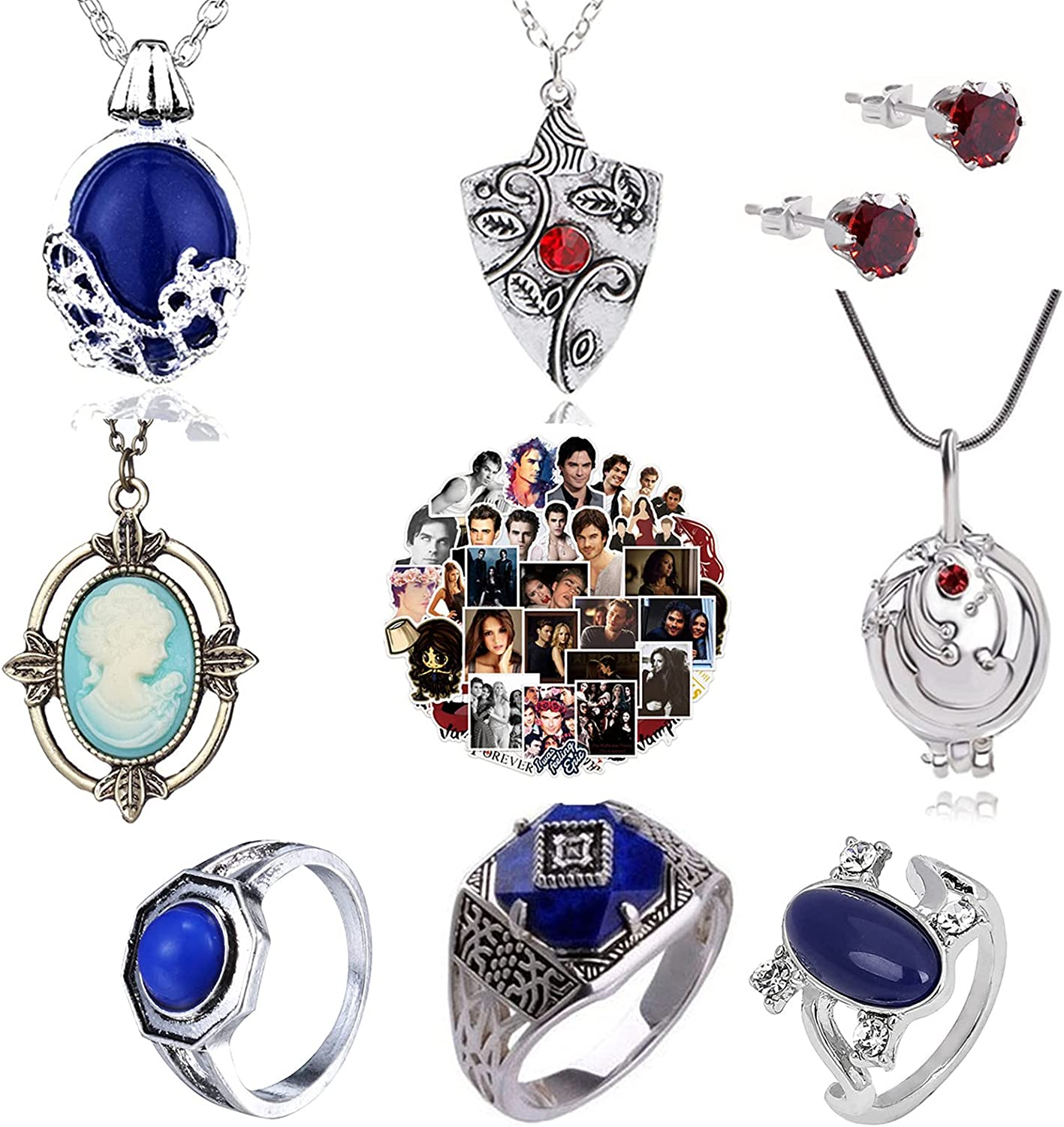 XHBTS 19 Set Replace The Vampire Diaries Daywalking Katherine Sapphire Crystal Pendant Necklaces Ring Earrings and 10 Pcs Vampire Diaries Stickers Movie Jewelry Set Cosplay For Fans