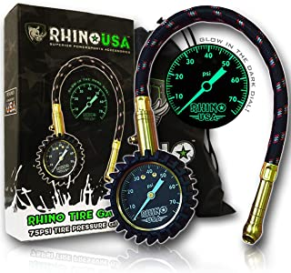 """Rhino USA Heavy Duty Tire Pressure Gauge (0-75 PSI) - Certified ANSI B40.1 Accurate, Large 2"""" Easy Read Glow Dial, Premium Braided Hose, Solid Brass Hardware, Best for Any Car, Truck, Motorcycle, RV…"""