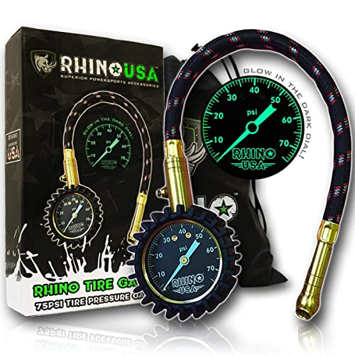 Rhino USA Heavy Duty Tire Pressure Gauge (0-75 PSI) - Certified ANSI