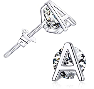 Hypoallergenic Initial Letter Studs Earrings Alphabet 925 Sterling Silver CZ Earrings for Sensitive Ears Gifts for Women Girls Mens