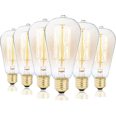 6 Pack Rolay 25 Watt Vintage Edison Light Bulb With Squirrel Cage Filament 110 130 Volts E26 Base 70 Lumens