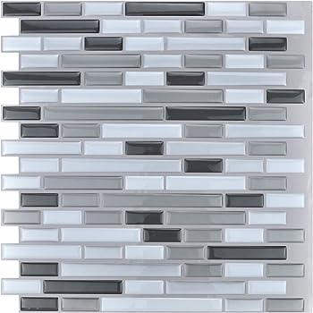 Ladrillo de Piedra Blanca,9 Piezas Hiser Adhesivos Decorativos para Azulejos Pegatinas para Baldosas del Ba/ño//Cocina Estilo de Azulejos de Pared 3D Resistente al Agua Pegatina de Pared