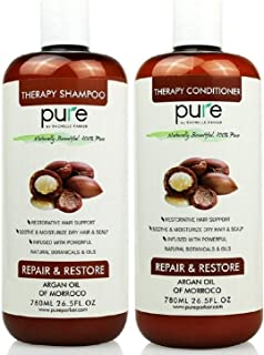 PURE Shampoo and Conditioner Set, HUGE 26.5 oz. Each Extra Strength Formula with Keratin & Dead Sea Minerals, Moisturizes Dry & Damaged Hair (Argan Oil Shampoo & Conditioner)