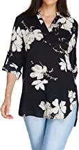 Auxo Women Floral Print V Neck Long Sleeve Chiffon Shirt Casual Loose Blouses Tunic Tops