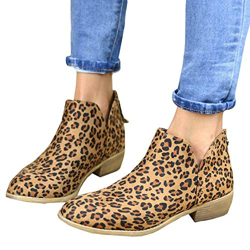 cc2cc8f95abd0 PiePieBuy Women's Top Fashion Pointed Toe Ankle Boot Winter Low Heel Side  Split Stacked Booties