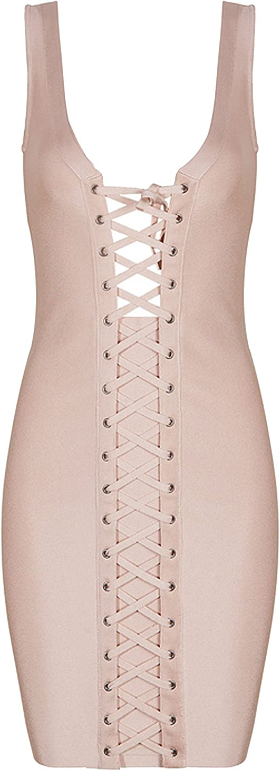 meilun Women's Rayon Lace Up V Bandage Celebrity Ranking TOP11 Neck Party Bombing new work Dres