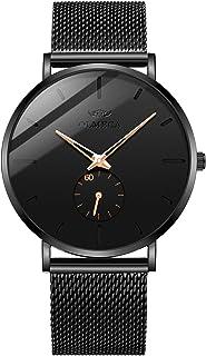 ساعة يد عصرية من اولميكا بتصميم بسيط رفيع جدًا مضادة للماء للرجال، بحركة كوارتز وكرونوغراف وحزام ميلانو 901