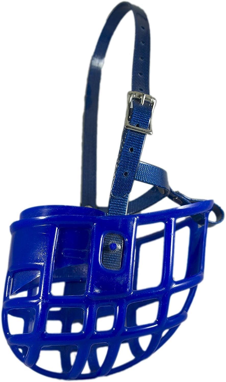 Birdwell Enterprises  Plastic Dog Muzzle with Adjustable Plastic Coated Nylon Headstall  Made in The USA  (Large, bluee)