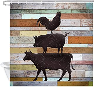 JAWO Rustic Shower Curtain, Farmhouse Cow Chicken and Pig Pattern on Color Wooden Boards, Polyester Fabric Bath Curtains Set with Hooks 69W X 70L Inches