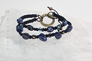 Genuine Sodalite mix & match stacking bracelet set by All Things BA Art