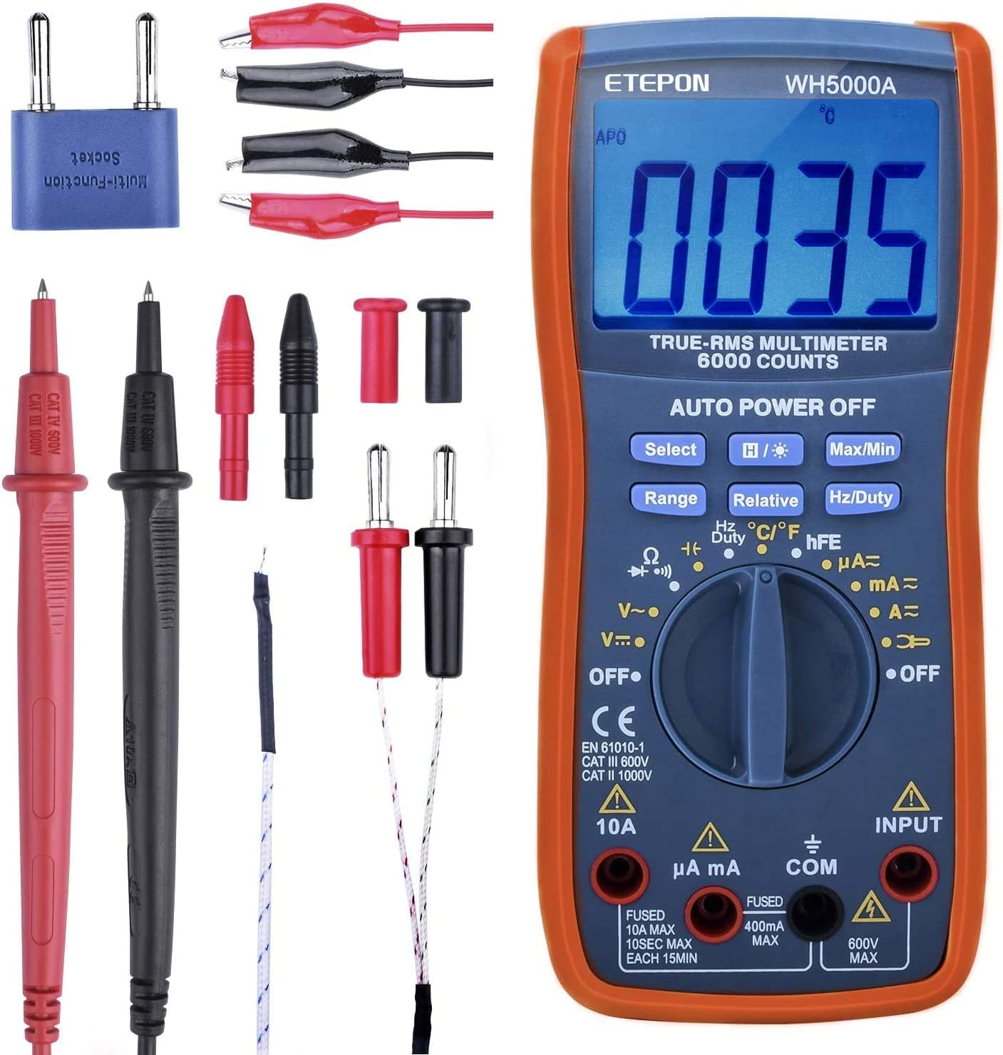 ETEPON Digital In a popularity Multimeter True RMS Voltage Raging Genuine Free Shipping 6000 Auto Test