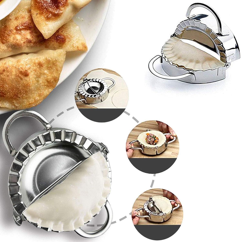 Dumpling Maker, Prowithlin Dumpling Maker / Press Stainless Steel Dumpling Maker Kit Ravioli Empanada Press Mold, Pierogi Wrapper Pastry Tools (3.74 in, Large Size)