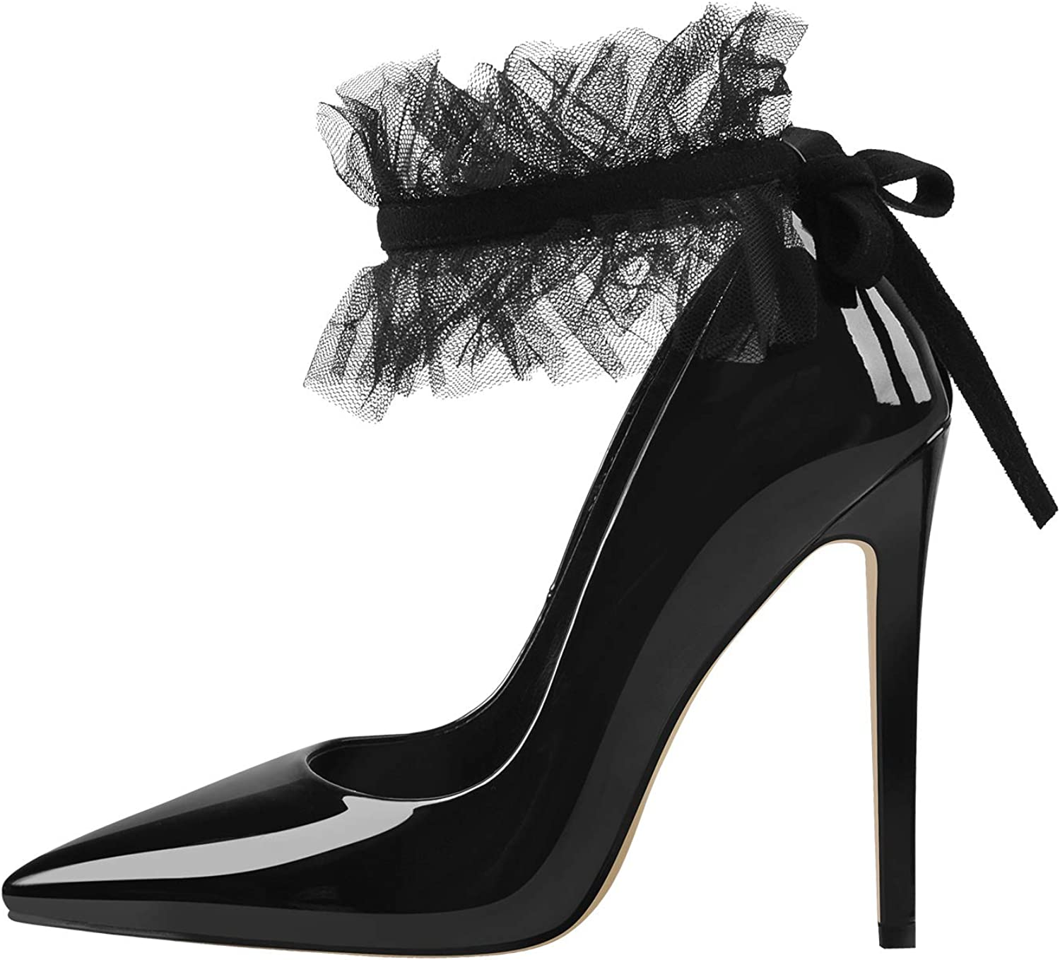 LISHAN Women's Pointed Toe Ankle Strap Lcae Up Stiletto Pumps