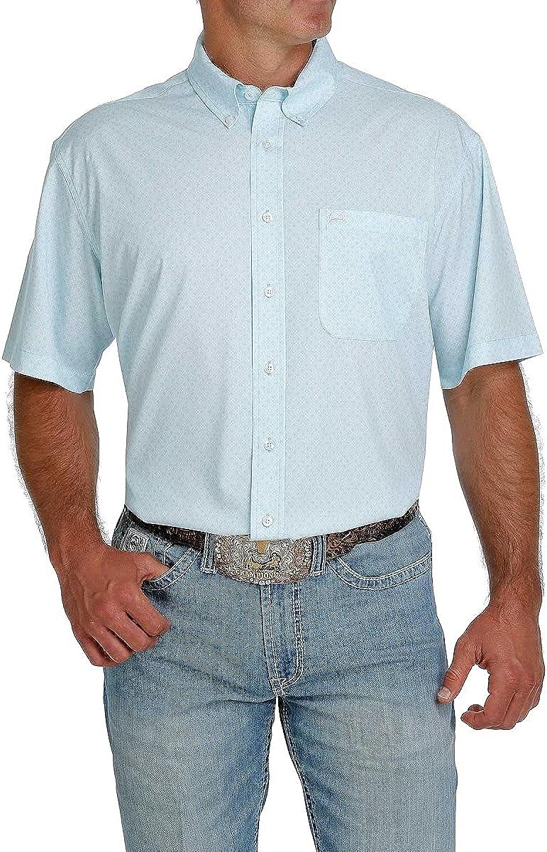 Cinch Men's Arena Flex Light Blue Geo Print Short Sleeve Western Shirt