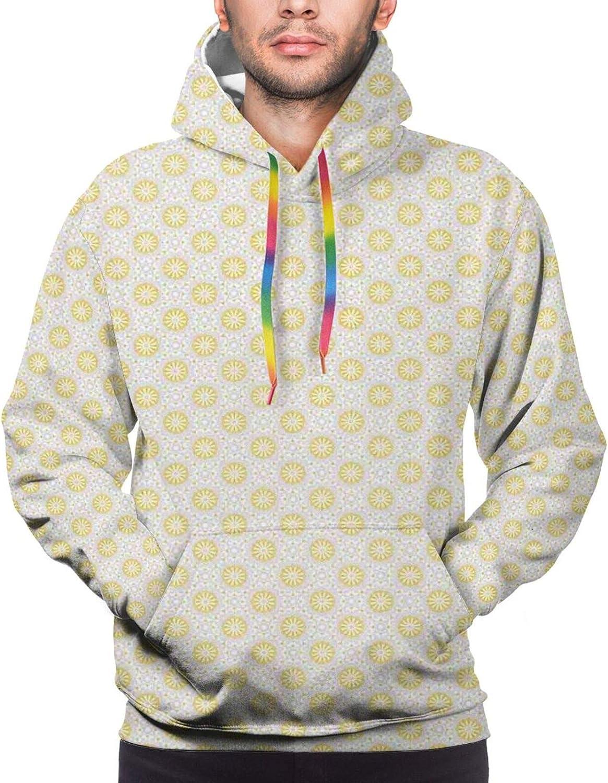 Men's Hoodies Sweatshirts,Eighties and Nineties Themed Ice Cream and Pine Design Retro Illustration