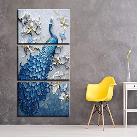 Lgac Py Wall Art Canvas Prints 3 Panel 3 Pieces Canvas Art Modern Blue Peacock Flower Set Vertical Paintings For Living Room Wall Decoration Posters Prints