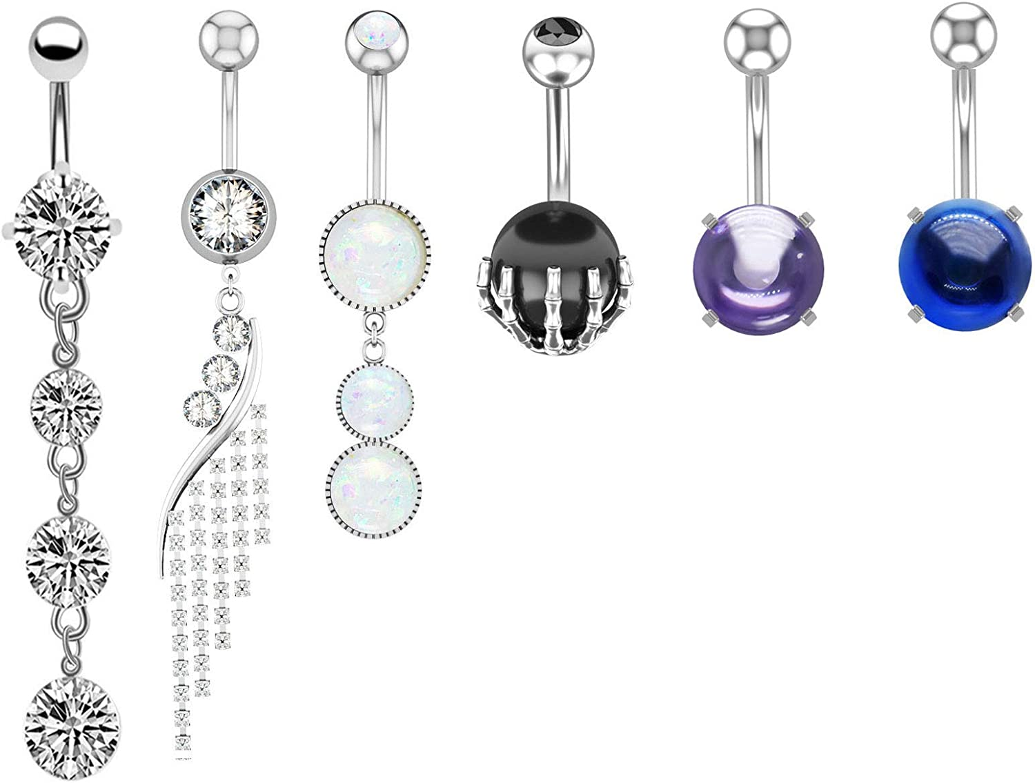 JDXN 6 Pcs 14G Stainless Steel Dangle Belly Button Rings Screw Navel Barbell Stud Body Piercing Jewelry for Women