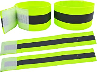 AMNQUERXUS High Visibility Reflective Night Running Walking Elastic Strap Wristbands Ankle Bands Armbands Safety for Cycli...