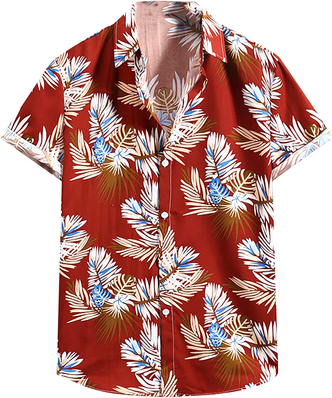 Men's Flower Hawaiian Shirt Casual Short Sleeve Button Down Tops Summer Printed Beach Shirts Blouse