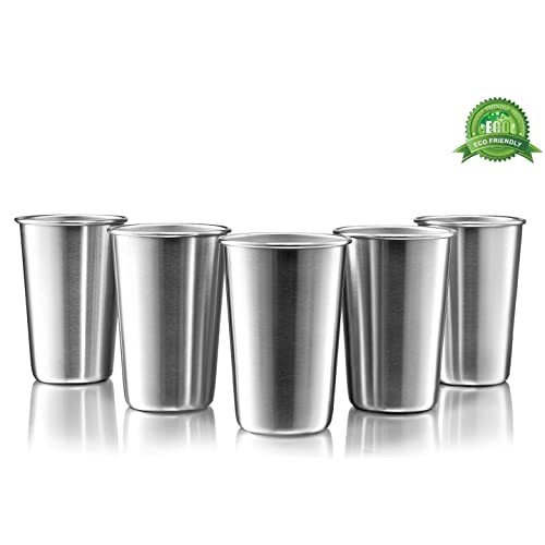Premium Stainless Steel Cups - 16 Ounce Stainless Steel Pint Cup Tumblers - Eco-Friendly, BPA Free (5 Pack)