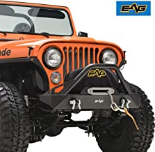 EAG Stubby Front Bumper with Winch Plate and D-Rings Black Textured Fit for 76-86 Jeep Wrangler CJ