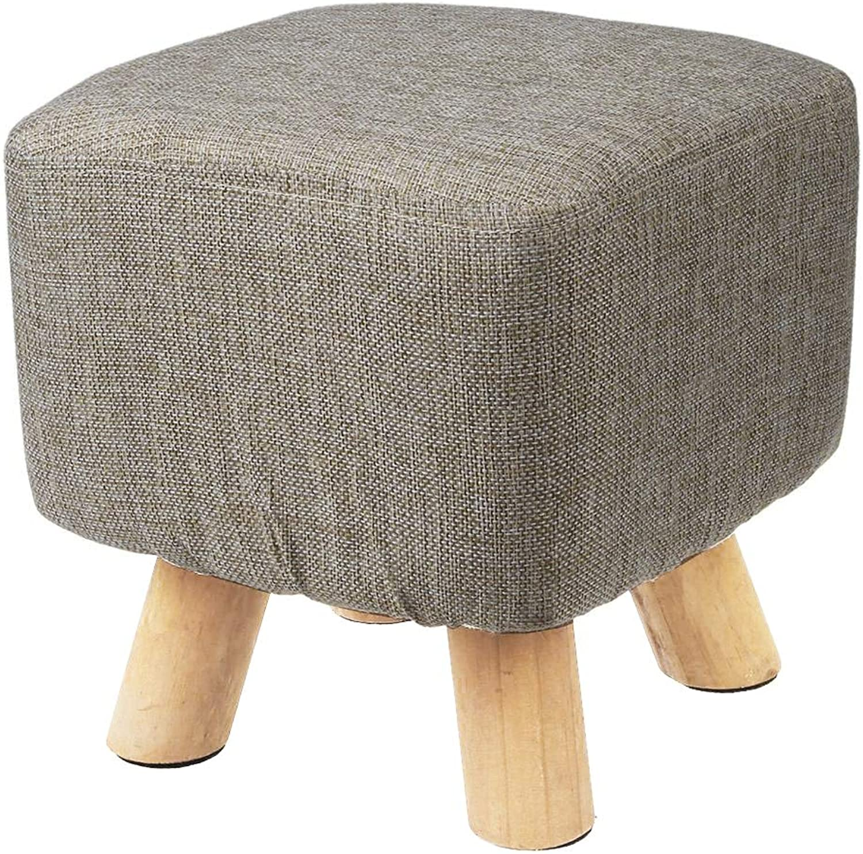 WuLian Modern Luxury Upholstered Footstool Pouffe Stool + Wooden Leg Pattern Square Fabric Grey(4 Legs)