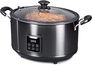 Presto 6013 Electric Indoor Smoker and Slow Cooker, 6qt, Black Stainless Steel