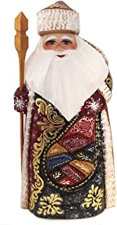 Needzo Santa Claus Figurine Wooden Russian Hand Painted Carved Father Frost Christmas Decoration 8 3/4 Inch, Red