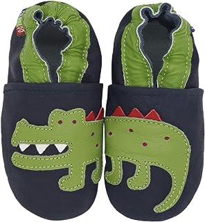 Carozoo Crocodile Bleu foncé(Crocodile Dark Blue), Chaussures Bébé Semelle Souple Fille