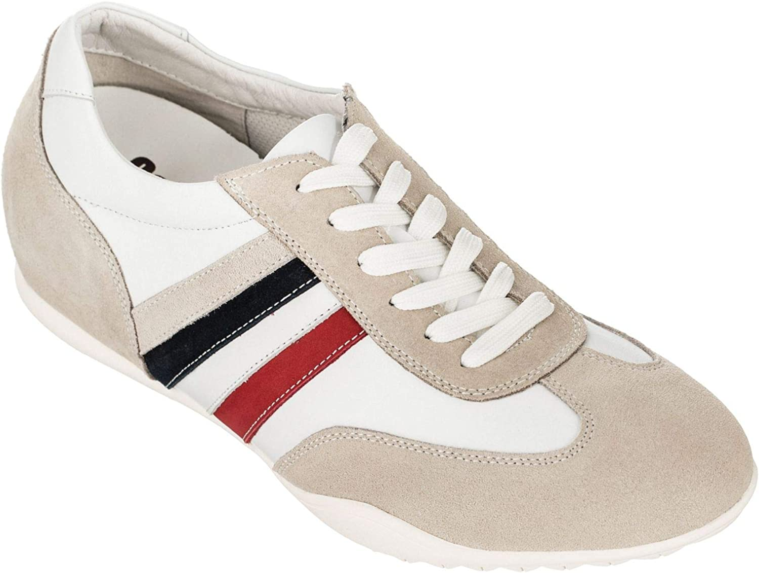 CALDEN Men's Invisible Height Increasing Elevator shoes - Beige and White Suede Leather Super Lightweight Fashion Sneakers - 2.4 Inches Taller - K217202