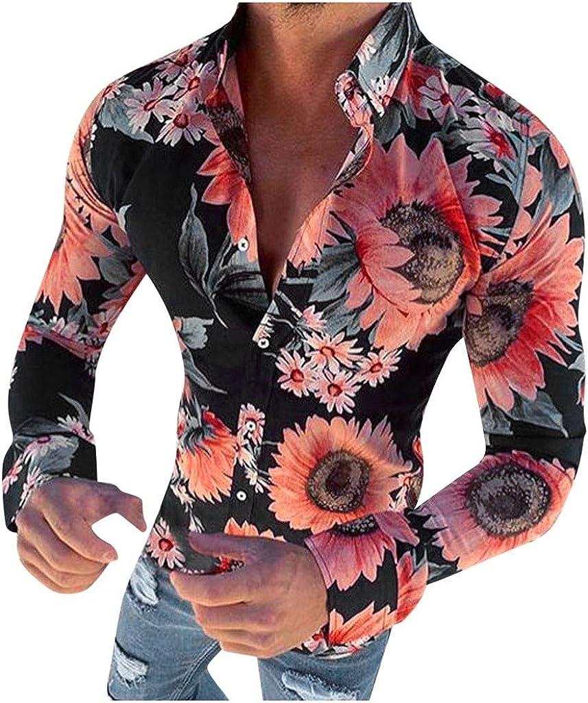 YAYUMI Men's Floral Print Shirt Slim Button Top Fashion Personality Casual Long Sleeve Autumn Jacket Black