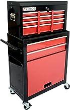 AREBOS Werkplaatswagen | gereedschapswagen | rolwagen | 8 vakken + groot vak voor je gereedschap | rood-zwart | antislipma...