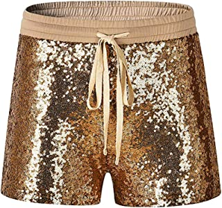 Cindaisy Shimmer Sequin Drawstring Shorts Hot Club Party Casual Shorts for Women