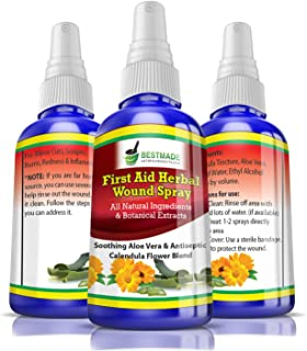 First Aid Herbal Wound Spray 30mL, All-Natural Ingredients and Botanical Extracts, Soothing Aloe Vera with Antiseptic Cale...