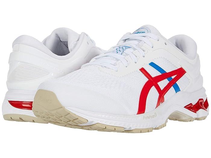 ASICS  GEL-Kayano 26 (White/Classic Red) Mens Running Shoes