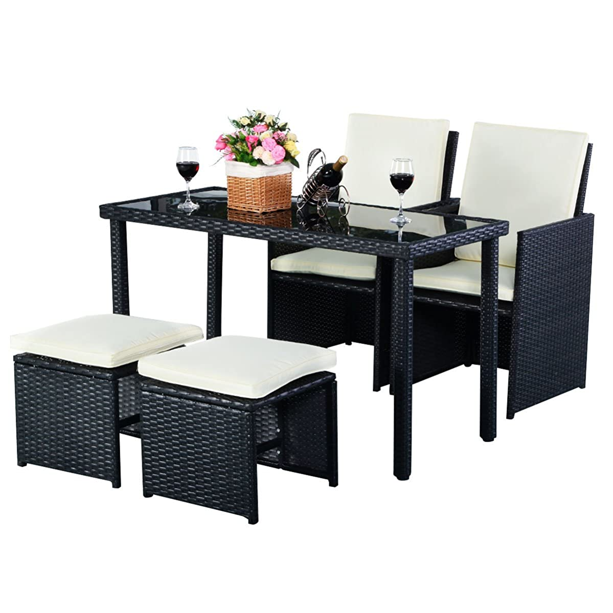 Tangkula Patio Furniture Outdoor Wicker Rattan Dining Set Cushioned Seat Garden Sectional Conversation Sofa with Glass Top Coffee Table (5pcs Black)