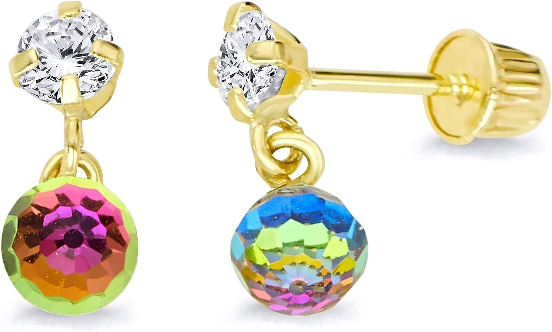 Wellingsale 14K Yellow Gold Polished Rainbow Dangle Stud Earrings With Screw Back