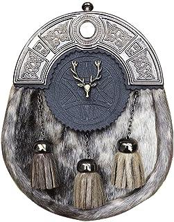 Scottish Kilt Sporrans Badge Style Stag Head Antique Finish/Mens Kilt Sporran, L,Beige