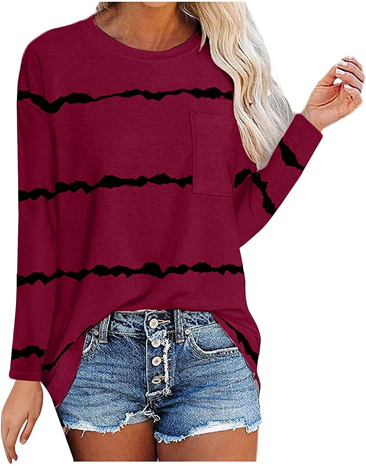 Auwer Women's Long Sleeve Basic Tees Striped Colorblock T-Shirts Casual Round Neck Tops Flowy Loose Fit Blouses with Pockets
