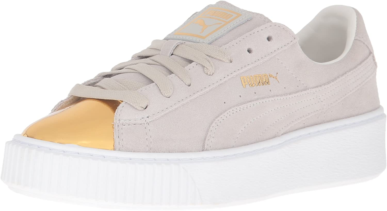 PUMA Women's Suede Platform Gold Fashion Sneaker